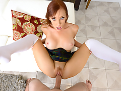 Dani Jensen is everyone's favorite redhead waitress, but this busty MILF has a policy against fucking her customers. Of course, if she gets horny enough, Dani will always lift her skirt and take a fat cock in her ginger trimmed pussy.