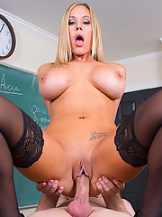 Olivia Austin sucks and fucks her student in the classroom