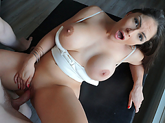 Alexandra Sivroskya (a.k.a. Marta La Croft) was showing Jake around a luxury house, when he asked if he could massage her big fake tits. One thing lead to another and soon enough this busty babe was completely naked fucking his big cock on the couch!
