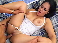 Cristal Caraballo is a fully staked milf that works at a shop but got convinced to have some fun for some serious cash. We quickly find out that this chick not only has big tits with an ass to match, but that she can also give a good dick-sucking. Cristal started to deepthroat after showing off her amazing big ass, that led to her getting fucked with a bare cock. You guys will get to see that big ass bounce while she rides on cowgirl and doggystyle. She ended up taking a big load to her face to end the day right!