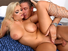 British blonde babe from next door Katy Jayne comes knocking. She claims her power is out and she needs a shower. The upstairs shower doesn't seem to be working, but she doesn't care. Clearly she's come over for something else and quickly removes her bra and panties, revealing her big natural juicy tits and shaved pussy. She gives a great blowjob and titty-fucking. The best part is her moans and groans as she rides the cock on top, with her bouncing tits. She gets fucked from the side, fucked from behind, and with a sexy, strained moaning when she's really close... she cums over and over from the constant pussy-pounding.
