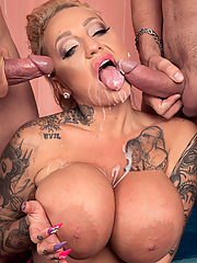 Bambi Blacks gets double penetrated by two hung studs