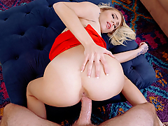 Kimberly Moss was upset that her date stood her up, but when she caught her pervy roommate masturbating to her while naked in the shower, she forgot all about him. This nympho was already so horny, so she joined her roommate and fucked his big dick!