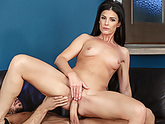 India Summer is getting some new televisions and cabling installed in her house, and she finds the installer very attractive. So, before he goes to work on her tv's, she goes to work on his cock!