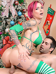 Anna Bell Peaks gets her tight pussy stuffed by the Christmas tree