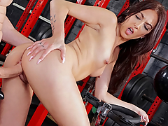 Aubrey Rose loves to mix her gym routines with her sex sessions. And in an empty gym, all this sexy brunette wanted to do was fuck her personal trainer! On the bike, Aubrey peddled hard, taking his monster cock in her tight pussy with every spin!