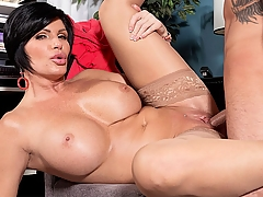 Shay Fox, a big-titted divorcee, sucks and fucks cock and gets a creampie in this scene, but we thought you'd like to know a little bit more about her. She's from Southern California, born and raised. She's divorced. She's also a mom. Her tits are DDD-cups. Her pussy is shaved. She describes her special talent as giving sloppy blowjobs. We asked her if she was the bustiest girl in school, and she said, No, the redheaded girl was. But we're betting the redhead girl doesn't look as good now as Shay does!