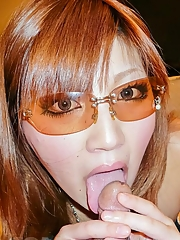 Mariko with sunglasses licks balls and cock and rides phallus