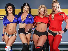 Welcome to the second annual Halftime Show! This year, watch Brooklyn Chase, Phoenix Marie, Romi Rain, and Veronica Avluv play a quick game of pickup before getting fucked harder than a certain team in the second half.