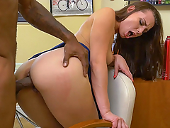 Aidra Fox does some side work for her daddy's salon business. Jay came in just to get a shape up, but his mind is shaping up some other ideas because Aidra keeps flashing her lily-white ass at him. How can a man be anything but distracted with a girl like Aidra waving her ass all around? Jay tries to be smooth with his voyeuristic tendencies, but Aidra calls him out for his lingering glances. Oh, Aidra's daddy ain't too happy about that. He gets so worked up after giving Jay a reading of the riot act, he's gotta go take a smoke break. He leaves Jay and Aidra all by themselves. Big mistake! Now, what's a man, let alone a proud black one, supposed to do when some hot piece of white ass throws themselves at you because their daddy ain't around? Man, you're going to fuck that white pussy till your dick falls off! You're going to let her suck the shit out of your big dick and slam her pussy til she's got jizz dripping out of her ears!! Freaks are going to get that freaky treatment they crave so best to get it when it comes your way. Just don't freak out if they go that extra freak mile, like Aidra here, and her floor jizz licking antics!