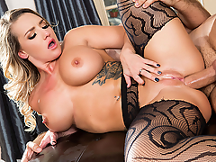 Cali Carter is wearing nothing but a perfect pair of fishnet pantyhose, heels and oil, she teases us and then pleases Keiran with a sloppy blowjob. It won't be long until those slutty stockings are ripped open so that round ass can take an epic pounding!
