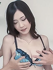 Kotone Amamiya gets vibrators on and in slit and sucks cock