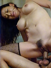 Rei Kitajima Asian sucks dong and has hairy twat full of sperm