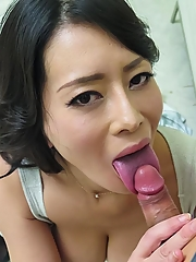 Rei Kitajima Asian has huge tits taken out of top during blowjob