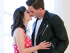 It's the 50's and Lily Jordan gets visited by bad boy Lucas Frost. He takes her for a spin in his 1947 Ford Cabriolet Coupe. She gets her first kiss and he convinces her to go further. Sneaking back into her house and up to her bedroom. They fuck each other like crazy for the first time! And she's rides his hard cock all the way home!