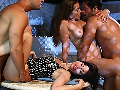 French porn star Ava Courcelles is always perfect in the role of MILF. In this scene, Ava partners up with lovely Dani Daniels! Blowjobs, anal, the two girls have fun with two men! (Video duration: 16 minutes)