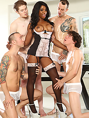 Mya Mays gets all pleasure holes gangbanged by four studs