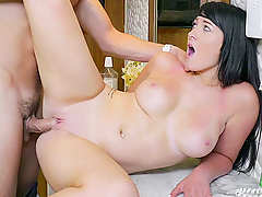 After naked Jessica Cage knocks down the man filming her in the locker room, she checks to see if he's okay. When the thick brunette discovers his hard-on, she apologizes by taking his fat cock in her mouth, then riding that big dick to an orgasm!