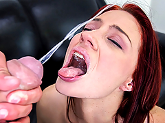 Naughty redhead Jessica Ryan comes by ready to be pleased. We do a quick interview before we start seeing her going wild on a cock. She sucks on balls and deep-throats the dick until she feels it's ready to go inside her. She ends up with a huge facial!