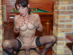 Lyna Cypher is a slutty French girl who loves playing dirty games. She convinces her gardening boy to come inside so they can have some fun. But what starts as an innocent pool game soon turns into something more and Max Casanova will take advantage of the opportunity to drill her fuck holes like crazy. (Video duration: 35 minutes)