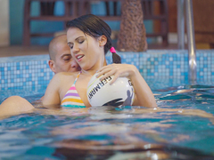 Playful brunette teen with pigtails Denise Sky is in the mood for a kinky fuck session at the pool with stud Matt Bird. First she will start him off with a good ol' handjob underwater then take his meaty schlong deep up her cunt. (Video duration: 17 minutes)