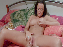 Gorgeous brunette Linet Slag plays with her stunning big natural tits while pleasing her horny pussy with a vibrator. She'll have three intense orgasms. (Video duration: 21 minutes)