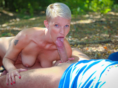 It's time for outdoor sex with Fabrice Triple X and Mia Wallace. This blonde French newbie goes down for doggy style to cowgirl and spoon banging in the forest. Next thing you know, the amateur babe is sucking cock, cum in mouth included. (Video duration: 36 minutes)