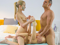 Hungarian blonde Sicilia gets a blonde and sexy surprise from her husband... Nesty! Things escalate to sensual FFM threesome. See girl on girl makeout, getting their pussy eaten and fucked doggy style. They take turns for a blow. (Video duration: 21 minutes)