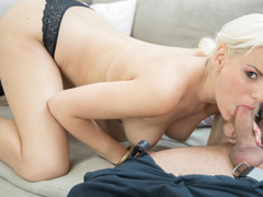 Delightful blondie Lucy Shine ends up satisfying George Uhl's foreign cock. He covers her sweet shaved pussy in cum before fucking some more. Not before long he cums again, right in her sweet little mouth. (Video duration: 33 minutes)