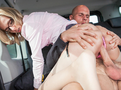 Czech blonde Jenny Smart loves fucking in public, so she'll convince Leny Evil to bang her in the backseat of the car. He'll cum all over her hot body. (Video duration: 23 minutes)