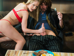 Hungarian beauty Sicilia takes pity on homeless guy Pablo Ferrari and invites him over to her place for a juicy steak and blowjob. Must watch this hot blonde as she sucks and tugs the hell out of that spunky cock until it erupts. (Video duration: 18 minutes)