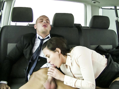 Yenna is a black-haired Czech babe who seduces her driver, Leny Evil. She fucks him in the backseat of the car and eats his cum. (Video duration: 24 minutes)