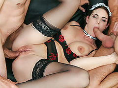 Hot brunette Marie Clarence is hungry for Omar Galanti and Luca Ferrero's big hard cocks. She squirts while getting assfucked, enjoys a double penetration, and has a taste of two fresh cumloads! (Video duration: 30 minutes)