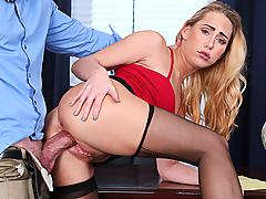 It's 2017, who wears underwear anymore? So asks Carter Cruise after her boss Mr. Mason pulls her in for a little chat about her workplace dress. HR has received numerous complaints from Carter's colleagues that her skirts are too short, she's showing too much cleavage, and much much more. All Carter cares about is what her boss thinks, since she works directly for him. The poor bastard is so turned on by the horny blonde that he can't disagree with her! Rather, he dives tongue first right into her wet pussy on the desk before she shows him what she really thinks of HR and sucks his dick like it is her job! Mr. Mason finishes the project by fucking his employee right and jizzing all over her face and in her mouth. See, working can be fun!