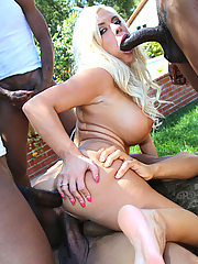 Sara St Clair gets all holes gangbanged by five black studs