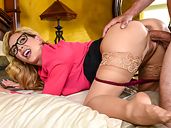 Cherie Deville is a stepmom who's all business. She wants to prepare for her big meeting tomorrow, but she can hear her stepson Kyle watching porn, and it's very distracting! At her wit's end, the workaholic finally walks in, shuts the porn off, and sucks her stepson's dick as she's on the phone with a colleague. She ignores his pussy-eating as she's practicing her speech, and types finishing edits on her laptop as they're fucking. She may want to shut her stepson up, but she'll have to keep working while she's doing it.