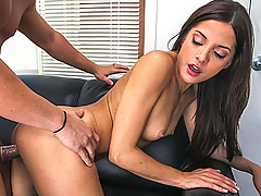 Evilyn Fierce quickly teases us with her great body and pussy. She inserts a dildo to warm up and sucks hard on the cock before she gets fucked. She fucks in multiple positions until her pretty face ends up with cum all over.