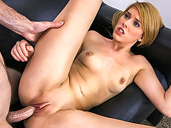 This tight bodied blonde comes to show off her great body and to be famous. Bella Young gives a great blowjob to get the guy ready for a good time. Her tight pussy gets stretched from doggy to cowgirl until her pretty face gets creamed.