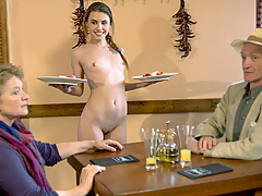 Cute waitress Elle Rose fucks the restaurant's chef in the kitchen.