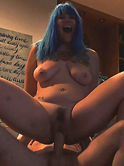 Blue-haired Chelsea Dagger sucking and fucking