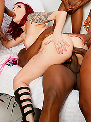 Amber Ivy gets all of her holes gangbanged by six black studs