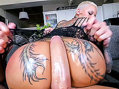 Huge booty Bella Bellz comes by to show off her massive ass. She shakes, twerks and gets oiled up for us. She also lets us know that she wants to get her asshole fucked. She gives a good cock sucking to get things started and we see her big ass bounce on doggy style. She does a great job taking this big cock in her ass from multiple positions until she gets cum spread all over her face!