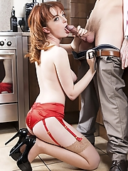 Housewife Lola Gatsby drains cum in the kitchen