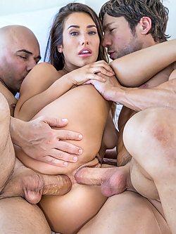 Eva Lovia gets double penetrated by two hung studs