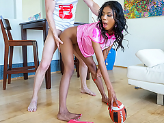 Ebony babe Nia Nacci was riding high from her fantasy football win, but it was her boyfriend who got the real spoils of victory when she took out her big tits, gave him a blowjob, and then took his big cock deep inside her pink pussy!