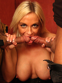 Cameron St Claire gets double penetrated by her boyfriend and the gardener