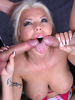 Barbie Sins gets slammed by two hard cocks simultaneously