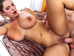 Katerina Hartlova takes a sexy hot shower where she shows off her amazing big tits. She gets spied on as she soaks her juicy tits before finally catching the guy. She confronts him and shoves his face into her juggs. She gives a great sucking and tit-fucking before they start fucking. Her big naturals bounce all over as they have sex from different positions until she gets a creampie.