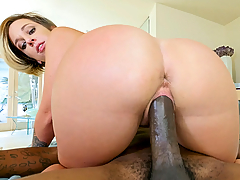 Jada Stevens is alone and horny. Her boyfriend asks her to record and send her a twerking video. As she's recording the video, her friend Slimpoke comes in the house unnoticed. He begins to spy on Jada as she's twerking to her phone. Slimpoke couldn't help but to bust out his cock and begins jerking it to Jada's perfect ass. She eventually noticed that he's spying on her and confronts him. However, she's way too horny and just the fact that his cock was already out, made her even wetter. She pulled him over to the bed and begged him to fuck her. Slimpoke slammed Jada's pussy all over her bedroom. All culminating with a giant load all over her face and mouth.