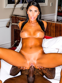 August Ames hooks up with her fantasy man for insane interracial sex
